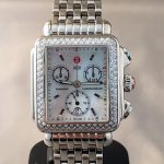Michele stainless steel Diamond DECO mother of pearl dial diamond bezel chronograph