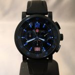 Michele Black Noir Chronograph black dial blue markers red date black silicone strap